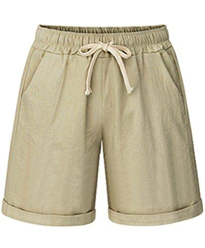 Vcansion Women's Drawstring Elastic Waist Cotton Stretch Lounge Shorts Khaki US 16-18/Asian 5XL