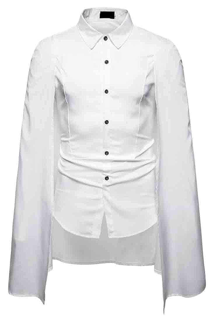 mydeshop Mens Cloak Plain Buttons Long Sleeve Summer Dress Shirts