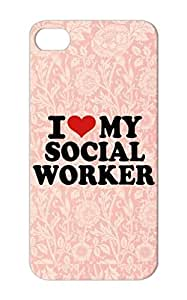 Shatterproof I Love My Social Worker Case For Iphone 5 Red Profession Careers Professions Worker I Social Heart Job