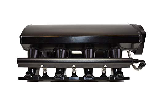 A-Team Performance Tall Fabricated Intake Manifold Compatible with LS LSX LS LS1 LS2 LS6 EFI 0° Throttle Opening (BLACK)