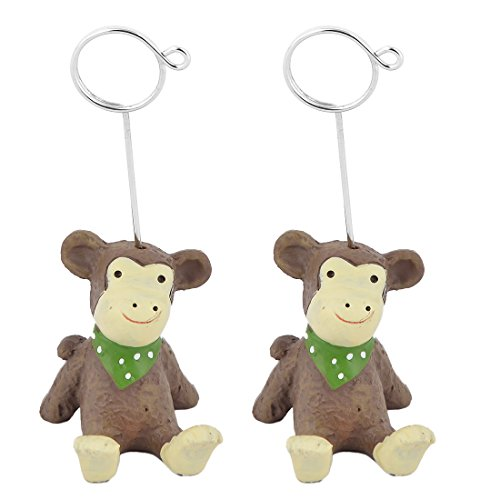 Monkey Name Cards - uxcell Resin Home Office Festival Monkey Design Table Ornament Photo Picture Card Memo Clip 2pcs