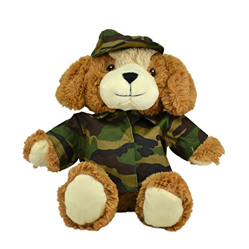 CustomizedbyBilgin Limited Edition Plush Toys in Duty! Policeman, Fireman, Chef, Soldier, Handyman Bear and Cute Dog Amazing Gift for Kids and Adults (Camouflage Cute Dog) from CustomizedbyBilgin
