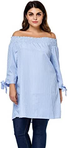 Esprlia Plus Size Women's Striped Off The Shoulder Tie Cuff Blouse Top Shirts