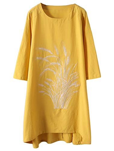 Minibee Women's Linen Dress Tunic Blouse Pullover Flower Embroidered High Low Shirt Yellow L