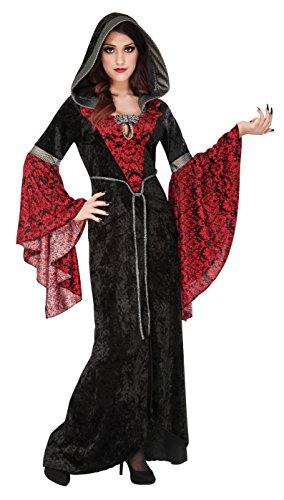 Rubie's Women's Cryptisha Hooded Dress Costume, Black/Red, -