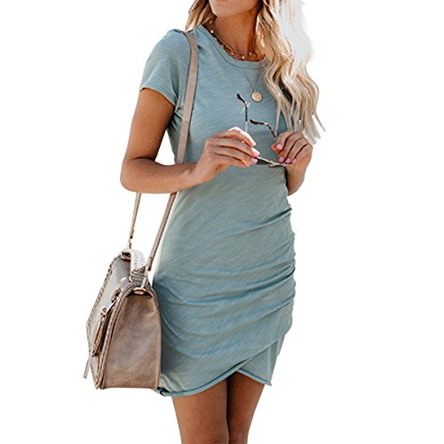 Dress Women Blue Sheath Stretch Short Ruched Light Bodycon Sleeve Casual Mini Dresses LETG OE XAOq5w