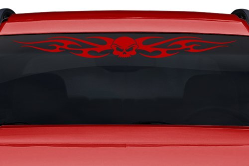 Sticky Creations - Design #116-02 Skull Tribal Flame Windshield Decal Sticker Vinyl Graphic Rear Window Banner Tailgate Car Truck SUV Van Go Cart Boat Trailer | 36