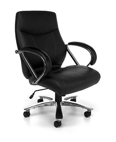 - OFM Avenger Series Big and Tall Leather Executive Chair - Black Mid Back Computer Chair with Arms, Black (811-LX-BLK)