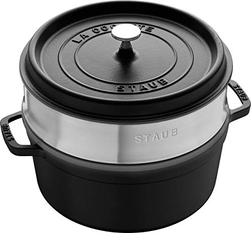 Staub 5.5 Quart Round Cocotte in Matte Black With Steamer In