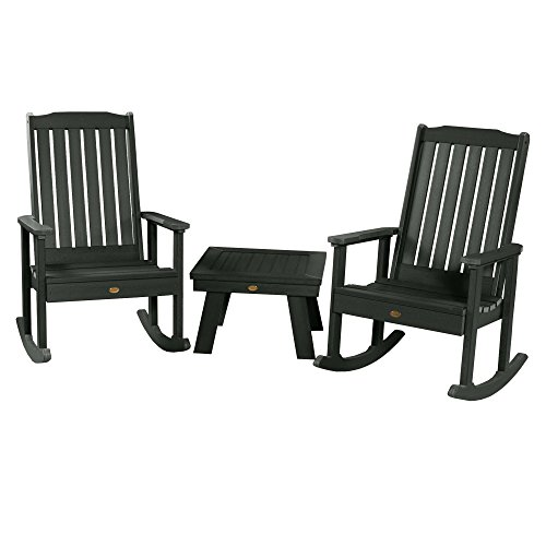 Highwood AD-KITRKCH1-CHE 2 Lehigh Rocking Chairs with 1 Adirondack Side Table, Charleston Green