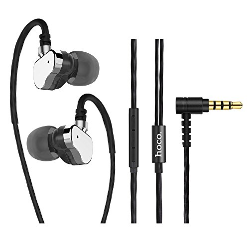 Earbuds In-Ear Wired 3.5mm Earphones hoco. M36 with Extra Super Deep Bass Dual Dynamic Drivers Remote and Mic Ergonomic Earhooks Noise Isolating HiFi Stereo for iPhone Galaxy etc. (Gray)