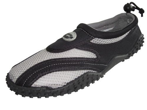 Men's 'Wave' Aqua Shoes Black/Light Grey 7