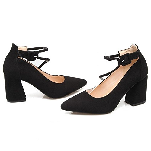 Women's Court Heel Black Pointed TAOFFEN Shoes High Toe gdqfWWwA