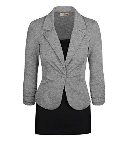 Women's Casual Work Office Blazer Jacket JK1131X Heather Grey 2X