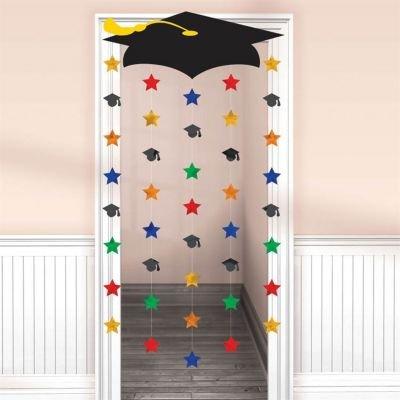 Congrats Grad! Graduation Party Grad Cap and Stars Door Curtain Decoration, Cardboard, 66