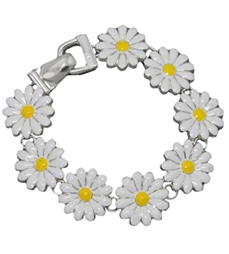 Butterfly Bug & Flower Bracelet Silver Magnetic Boxed (#62) (Daisies)