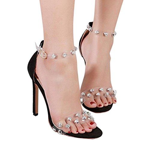 aimtoppyホット販売、ファッション女性高ヒールパンプスLady Martin Girlsヒールダイヤモンドピンヒールサンダル US:6 ブラック AIMTOPPY