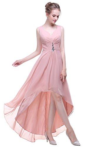 Bislu V Neck Chiffon High Low Bridesmaid Evening Gowns Prom Dresses Blush 16 -