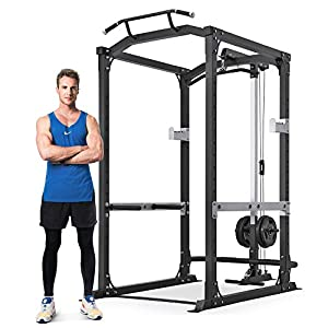 MaxKare Power Cage with LAT Pulldown Attachments | 2.5″ Frame 1600 LBS Capacity | Olympic Squat Rack for Home Gym Barbell Strength Training Smith Machine | Free Accessories | 14 Height Adjustable