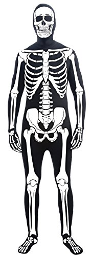 Forum Novelties Women's Teen Disappearing Man Patterned Stretch Body Suit Costume Skeleton, Black/White, Small/Medium - Skeleton Spandex Bodysuit