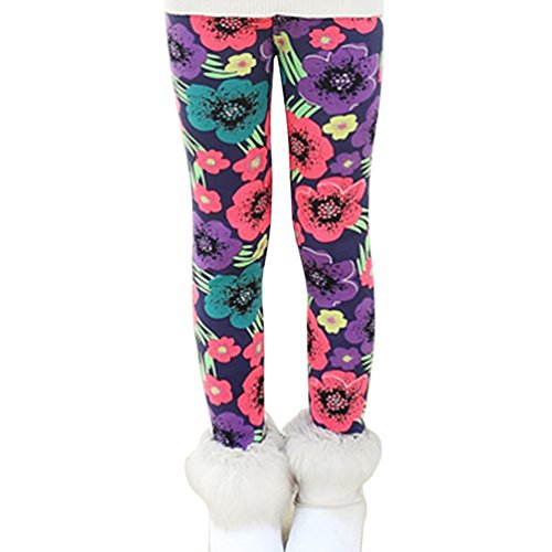 Rysly Girls Winter Thick Warm Long Pants Printing Fleece Lined Leggings 130 Tricolor