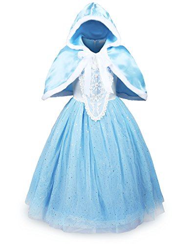 ReliBeauty Girls Sparkle Sequin Princess Dress Costume (5-6, Light Blue) (Halloween Costume Disney Princess)