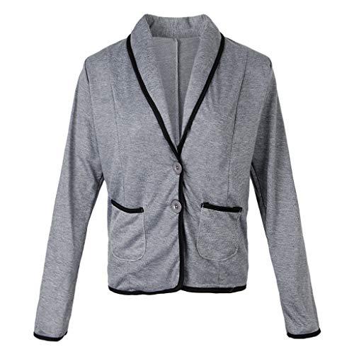 Corta Oscuro Suave Delgada Sensación Trabajo Elegante Cómoda Outwear Fityle Gris Chaqueta Abrigo F wUBqgB
