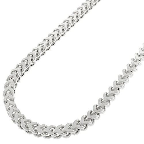 Sterling Silver 3.5mm Hollow Franco Square Box Link 925 Rhodium Necklace Chain 16