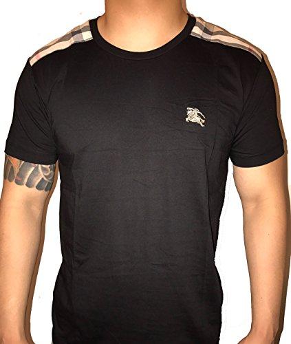BURBERRY+Brit+Men%27s+short+sleeve+check+shoulder+T-shirt+%28Small%2C+Black%29