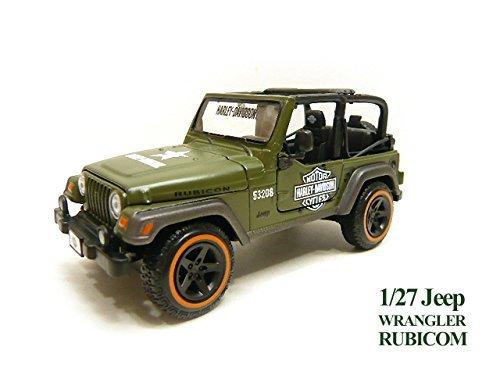 Harley-Davidson 1/27 ¡ Jeep Rubicon Army Green ¡ Maisuto ¡ Jeep Wrangler ¡ minicar die cast Widow Box Military H ? D