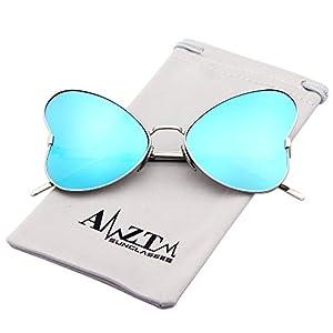 AMZTM Elegant Butterfly Metal Frame Women Sunglasses Polarized Mirrored Oversized Shades (Silver Frame Ice Blue Lens, 66)