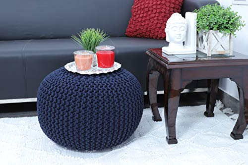 Frenish Décor Hand Knitted Cotton Ottoman Pouf Footrest 20x20x14 INCH, Living Room Accent seat (Navy) ()