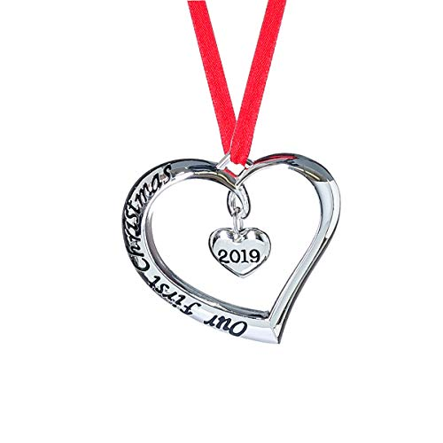 Klikel 2019 Our First Christmas Ornament - Christmas Heart Ornament - with Red Ribbon - Engaged Married (Ornaments First Tree Christmas)