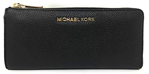 Michael Kors Jet Set Large Three Quarter Zip Around Pebbled Leather Wallet (Black with Gold Hardware)