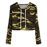 Cropped Hoodie, Womens Teen Girls Fashion Camouflage Sweatshirt Long Sleeve Short Hooded Pullover Tops
