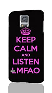 KEEP CALM AND LISTEN LMFAO Pattern Hard Durable 3D Cover Rough Skin Case for Samsung Galaxy S5 i9600