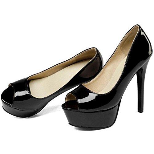 Para Mujer Tacon de Coolcept Black de Aguja Zapatos qwfA78xv