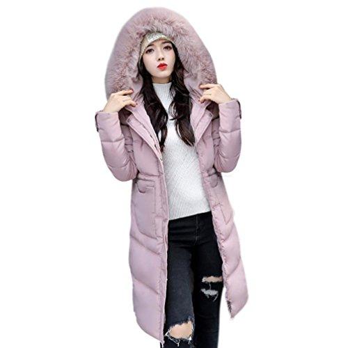 Rose Doudoune Slim size Manteau Plus Longue Outwear Fit Tag Lammy Décontractée 2xl Pardessus fr40 Hiver Femmes Épais OYSaaq