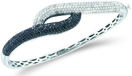 - Sonia Jewels Black and White Round Diamond Cross Over Pave Set Bangle Bracelet 14k White Gold (2.48 cttw)