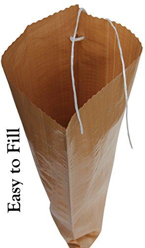 BagsOSand 14''X 26'' Empty Woven Polypropylene Sandbags - 1350 Denier - The Goldilocks of Sandbags -Tan/Earth, Heavy Duty with enhanced UVI protection, Waterproof, Dust proof, Ties Included (20 Bags) by BagsOSand