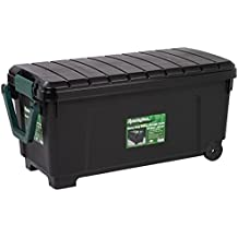 Heavy Duty Rolling Storage Trunk, Holds up to 225 Pounds, Includes a Heavy Duty Handle and Wheels, Reinforced Construction, 169 Qt Capacity, Black / Green. by Remington