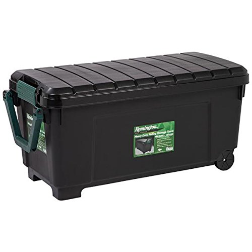 (Heavy Duty Rolling Storage Trunk, Holds up to 225 Pounds, Includes a Heavy Duty Handle and Wheels, Reinforced Construction, 169 Qt Capacity, Black / Green. by Remington)