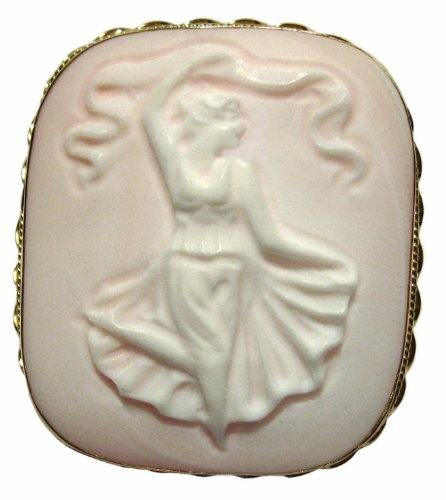 Cameo Art Deco Ballerina Master Carved Pink Conch Shell Italian Sterling Silver 18k Gold Overlay by cameosRus