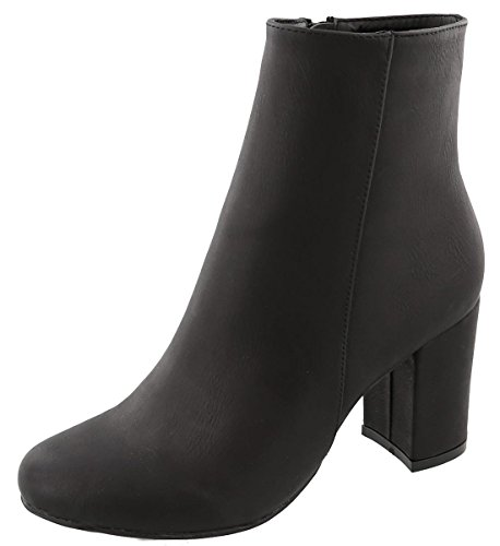 Black And Gold Boots - Top Moda Women's Mid Calf Stacked Block Heel Bootie (7.5 B(M) US, Black)