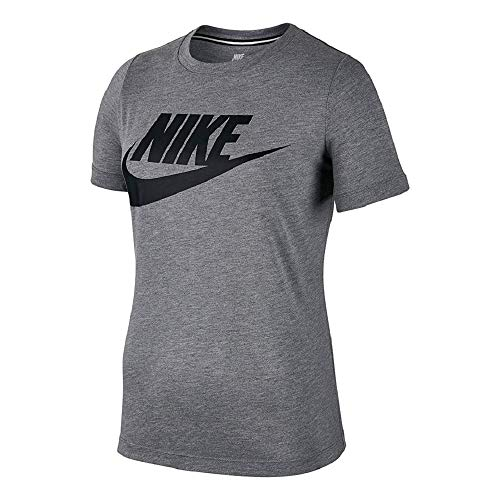 Nike Womens Essential Logo Standard Fit T-Shirt Dark Grey Heather/Black AT5464-091