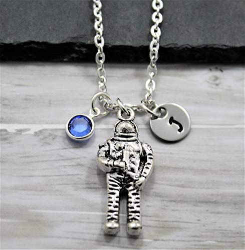 Astronaut Necklace - Personalized Birthstone & Initial - Astronaut Jewelry - Space Themed Astronaut Gifts - Fast Shipping
