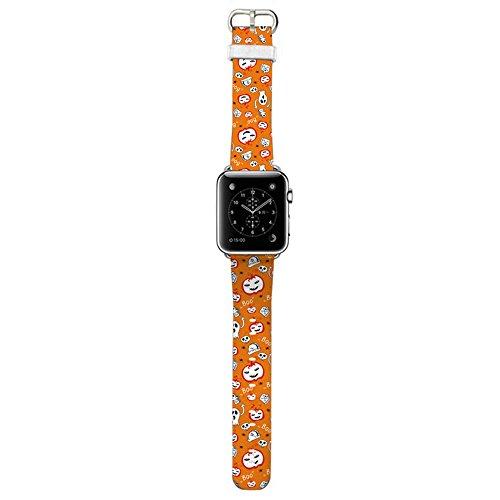 HAMOII Fashion Printing Halloween Devil Pumpkin Pattern Genuine Leather Cute Cartoon Replacement Watch Band for iWatch1/2/3, 38MM/42MM (A, (Non Halloween Pumpkin Patterns)