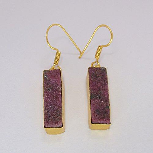 Modern Real Ruby Gemstone 22k Gold Vermeil Daily Wear Gold Dangle Earrings For Ladies ()
