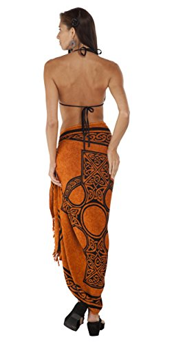 1 World Sarongs Womens Celtic Cover-Up Sarong Celtic Cross 2 in Burnt Orange