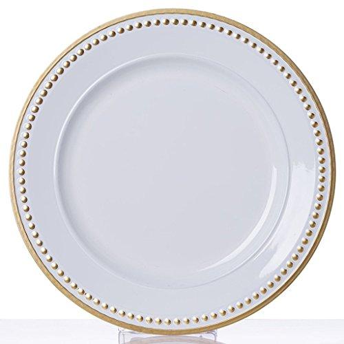 "Efavormart 13"" Round Gold Rim Crystal Beaded White Acrylic C"